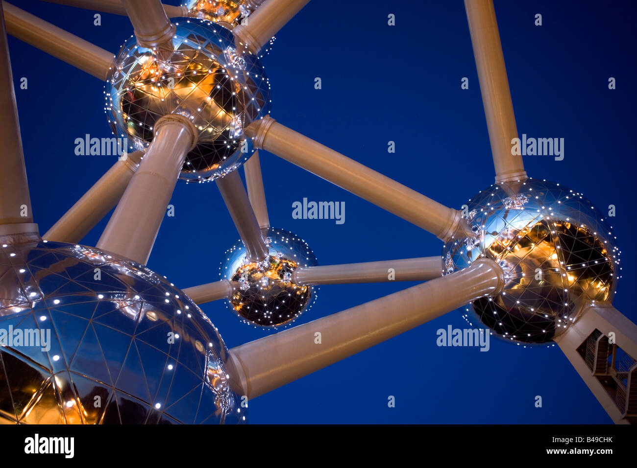 View of the Atomium in Brussels, was built 1958, Belgium. - Stock Image