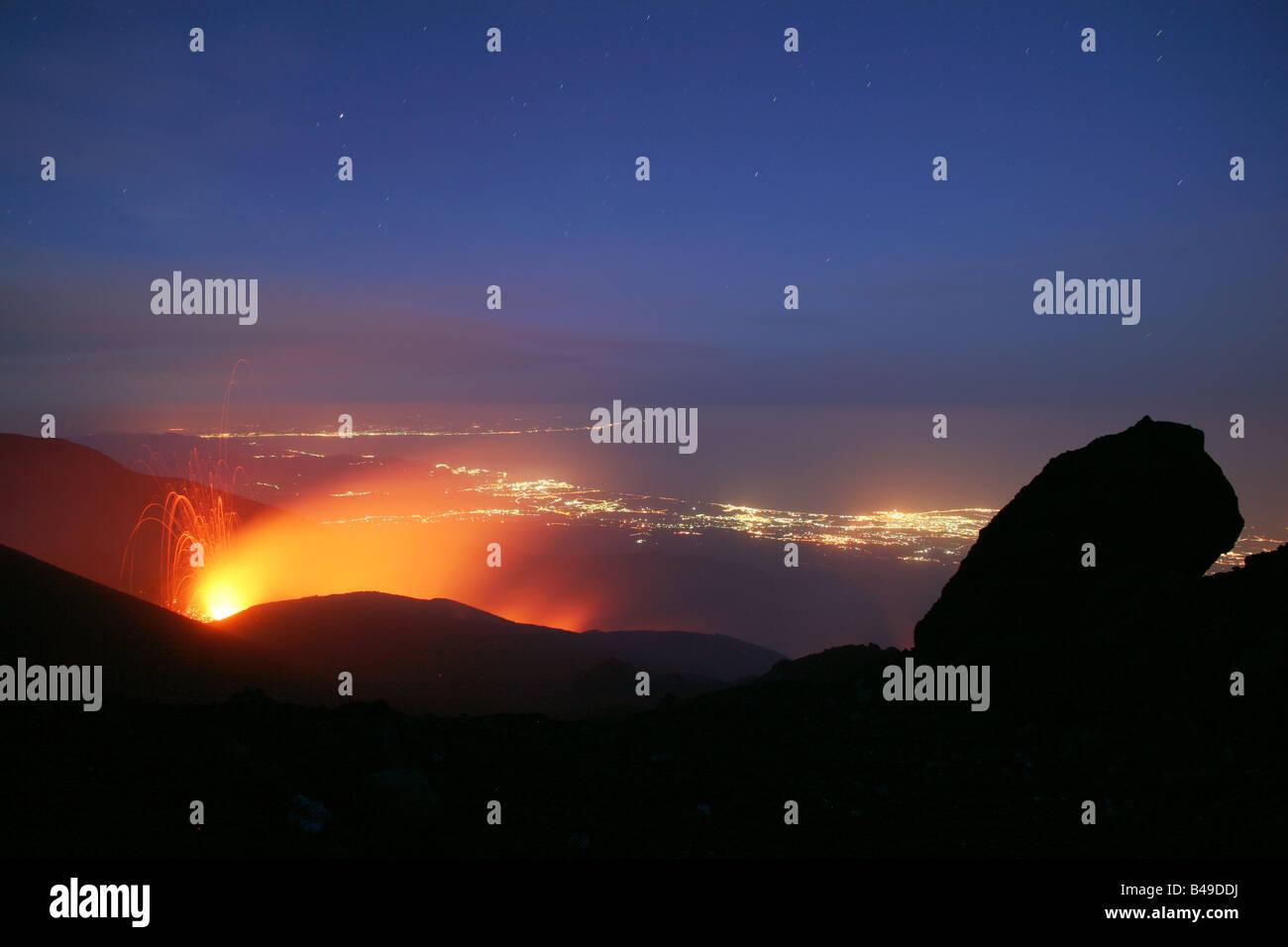 Eruption at Mt. Etna volcano - Stock Image