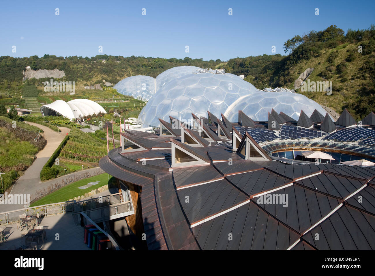 PV panels on roof of the Core Eden Project Bodelva St Austell Cornwall UK - Stock Image