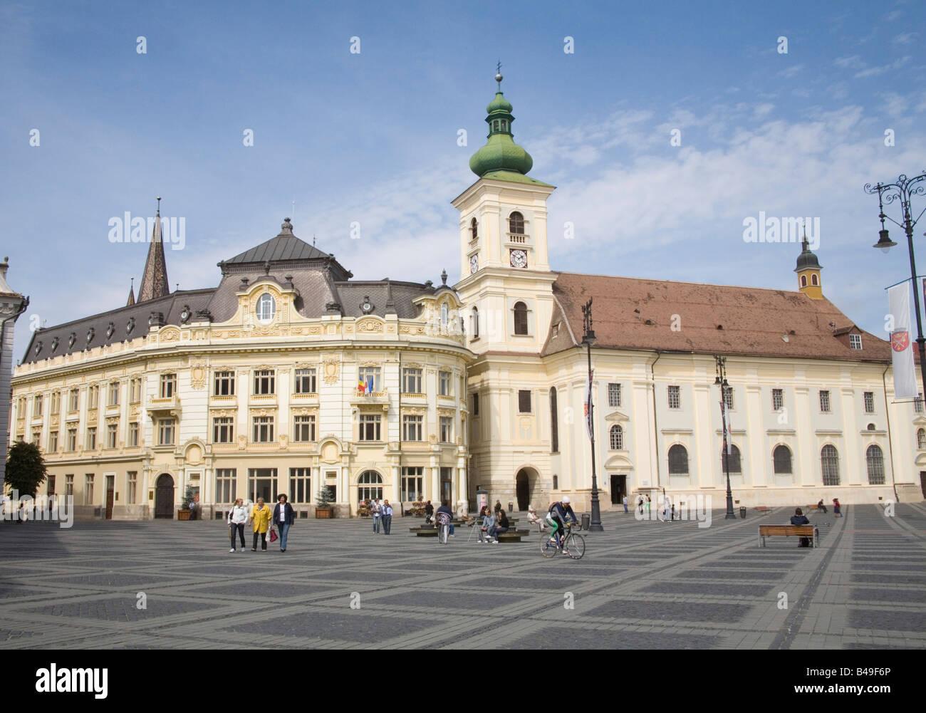 Sibiu Transylvania Romania Europe September pedestrianised Piata Mare towards Rathaus and Katholische Kirche Stock Photo
