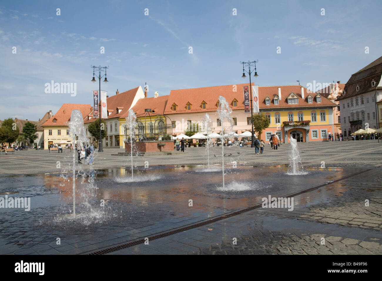 Sibiu Hermannstadt Transylvania Romania Europe September The water feature in traffic free Piata Mare - Stock Image