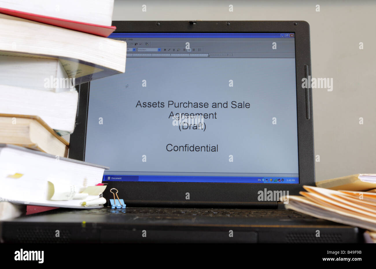 Assets Purchase And Sale Agreement As Work In Progress On Laptop Of