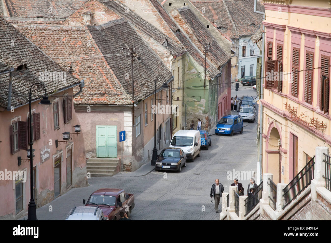 Sibiu Hermannstadt Transylvania Romania Europe September Looking down on one of the narrow streets lined by old Stock Photo
