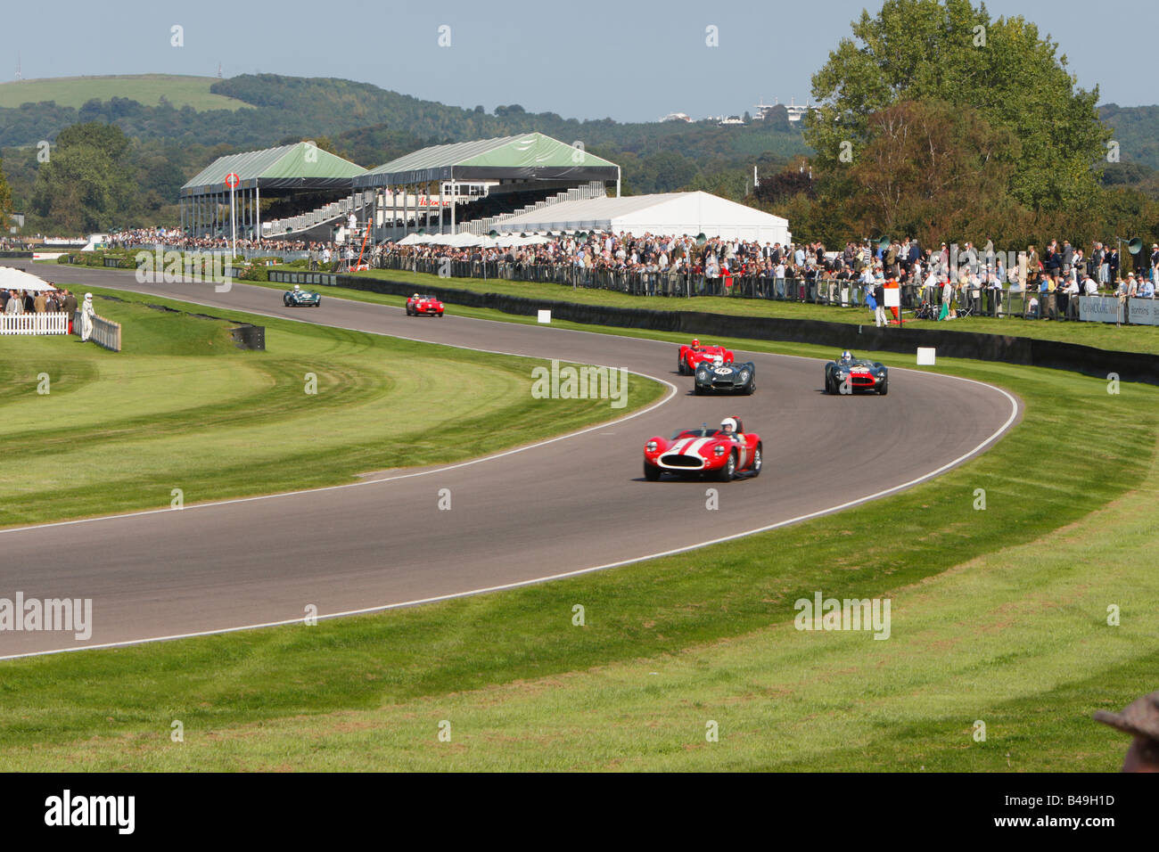 Jaguars at Madgwick corner Goodwood - Stock Image