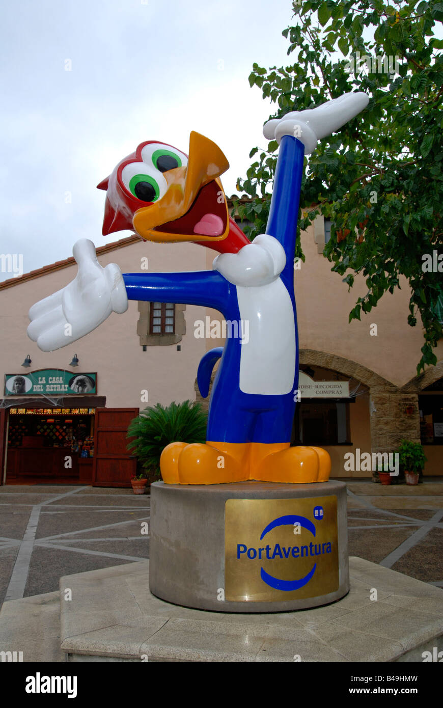 the 'woody woodpecker' statue at the entrance to portaventura theme park at salou in spain - Stock Image