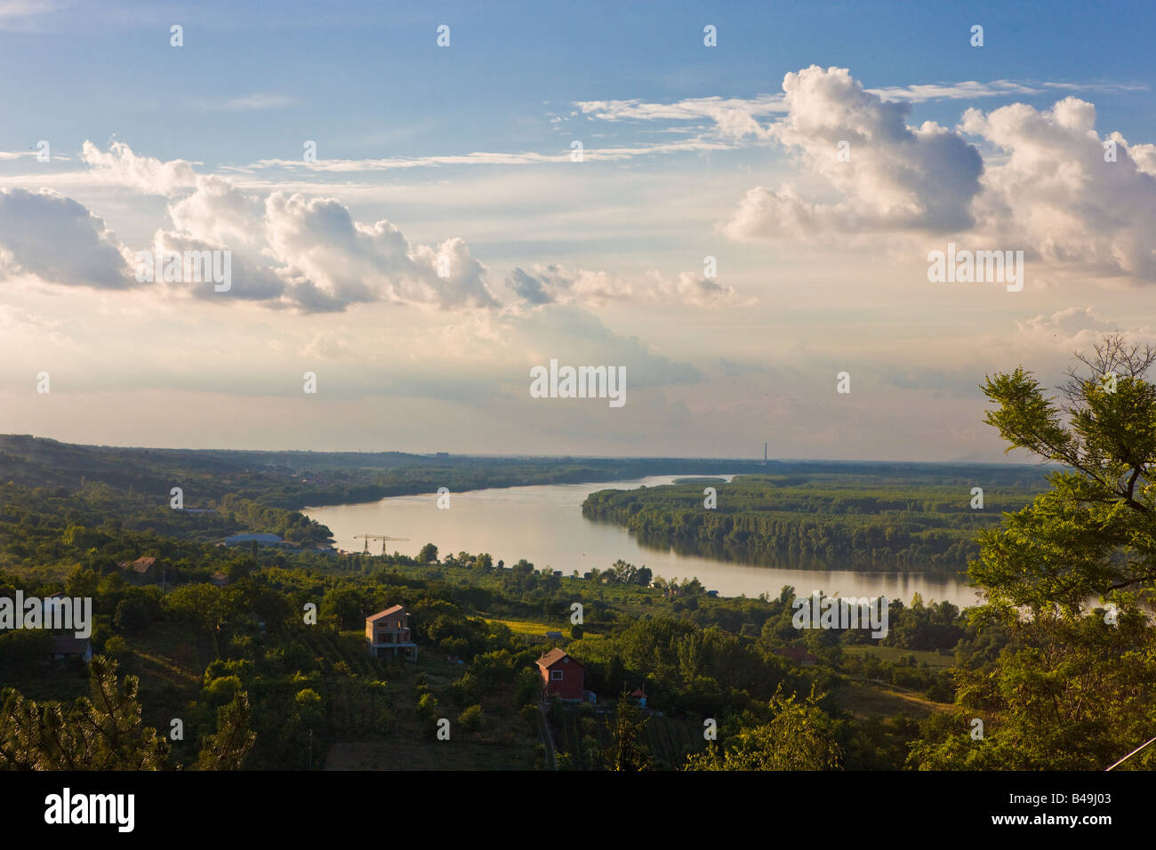Along the Danube River in the Vojvodina region of northern Serbia looking north towards the city of Novi Sad - Stock Image