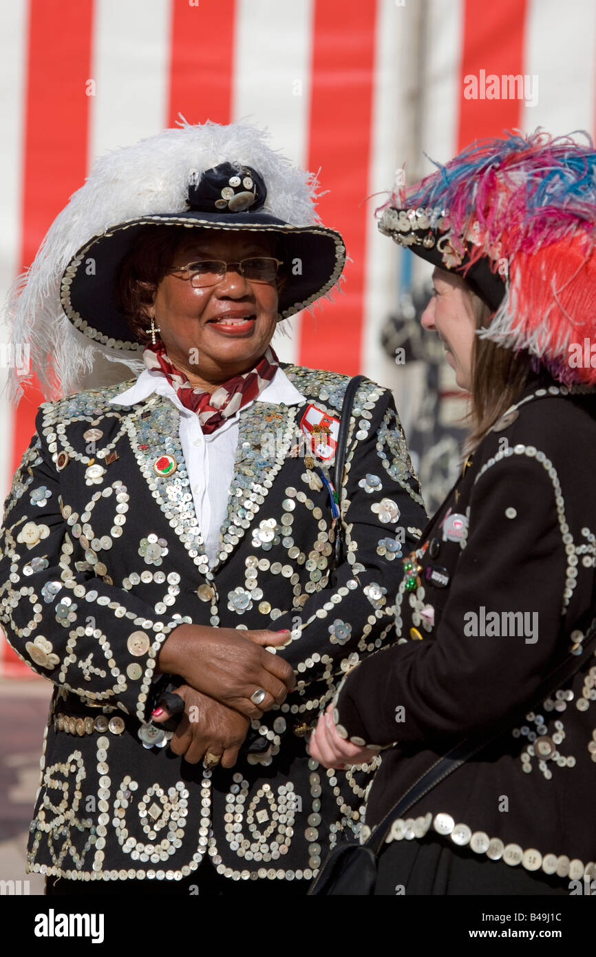 Pearly Kings and Queens Harvest Festival Guildhall London - Stock Image
