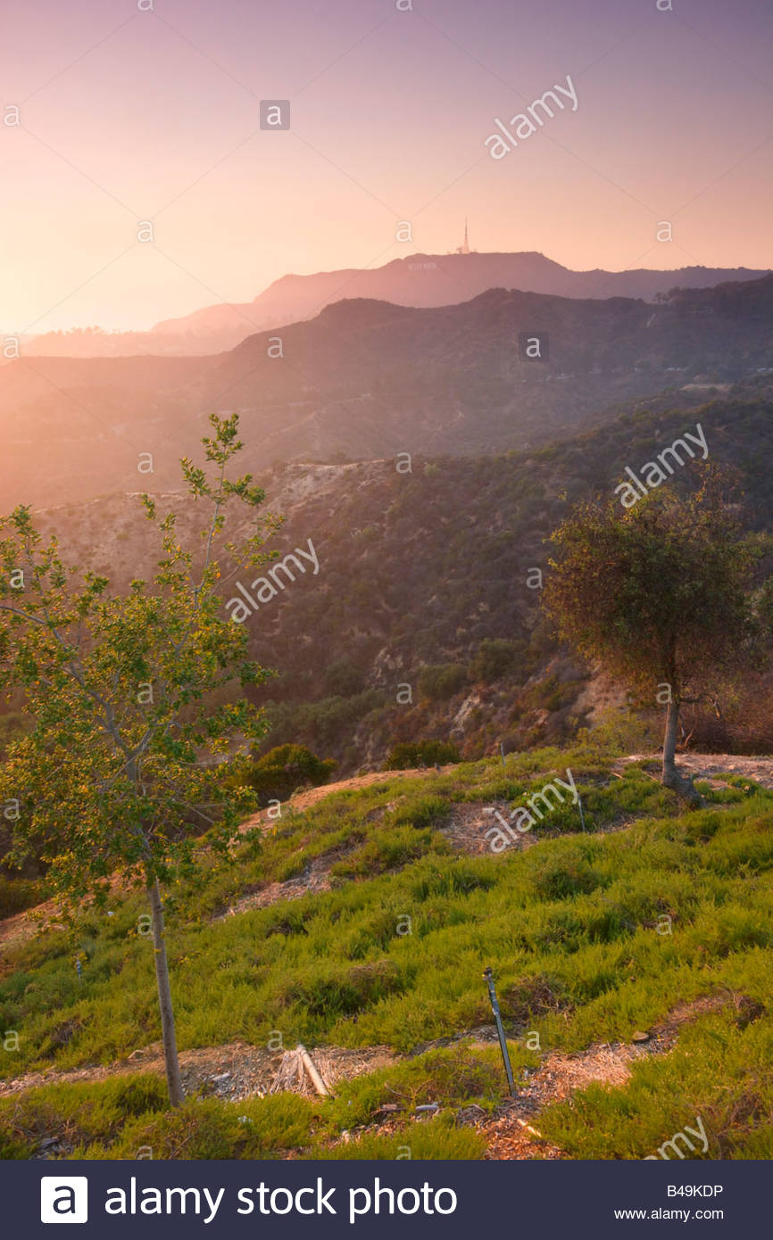 Hollywood Hills Scenic View at Sunset from Griffith Park Los Angeles California - Stock Image