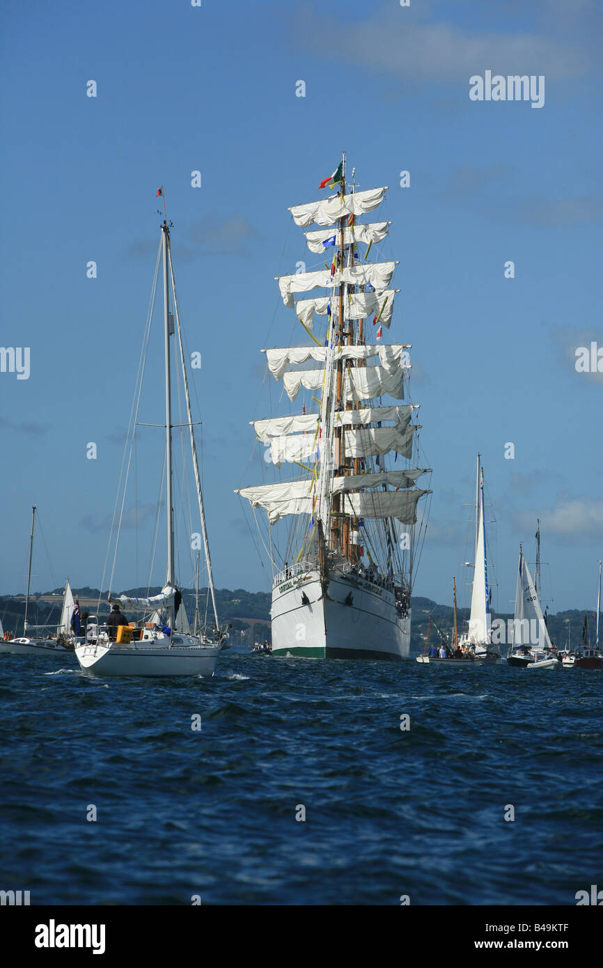 The three masted barque Cuauhtemoc tall ships race 2008 off Falmouth Cornwall England - Stock Image