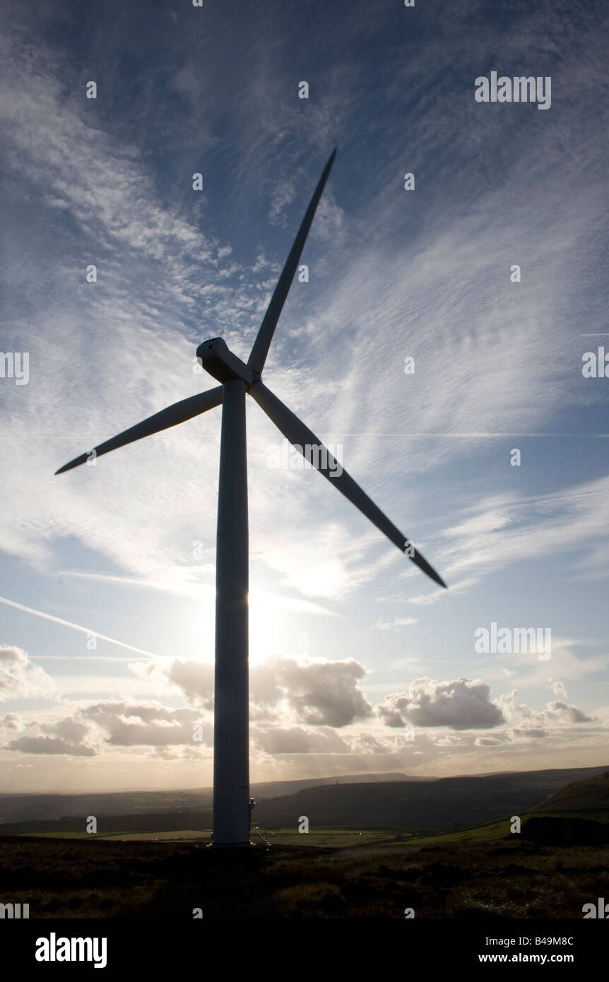 Scout Moor wind turbines, Lancashire, UK. Holcombe Moor, Peel Tower and Winter Hill beyond. - Stock Image