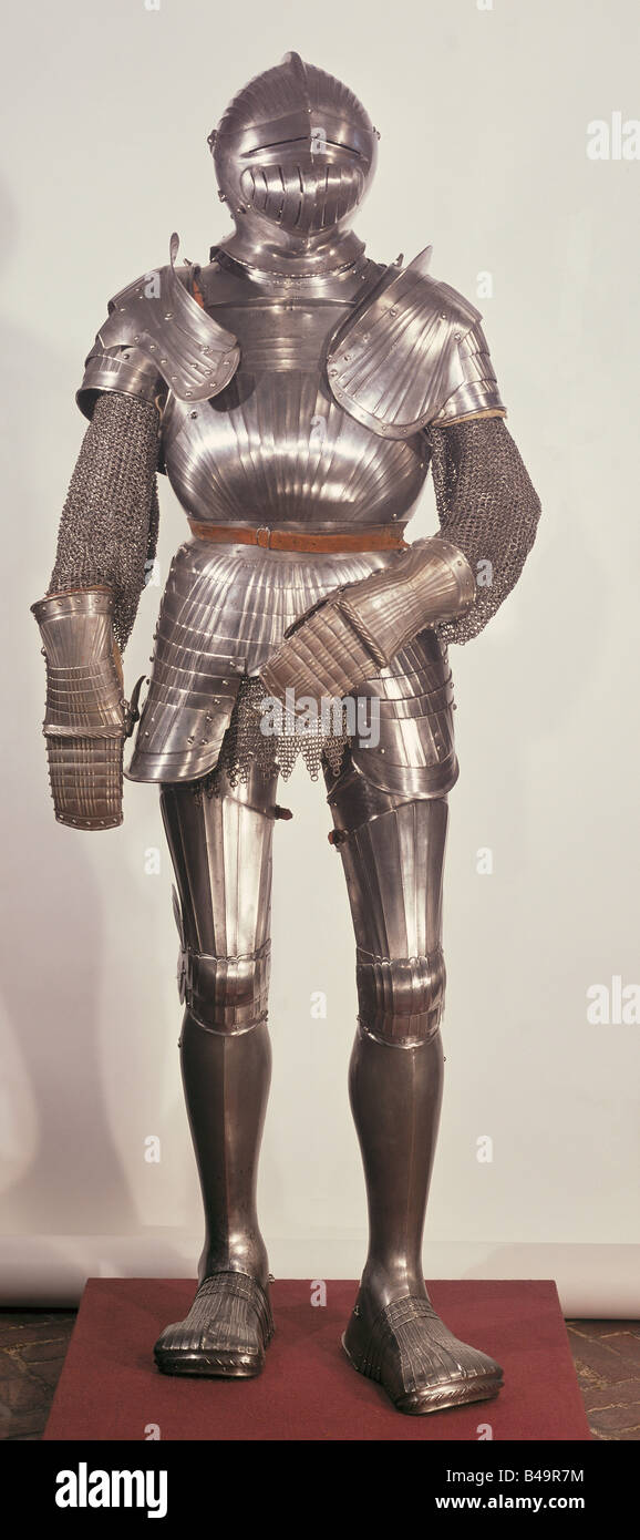 weapons, defensive arms, armour, plate armour, South Germany, circa 1520, Additional-Rights-Clearances-NA - Stock Image
