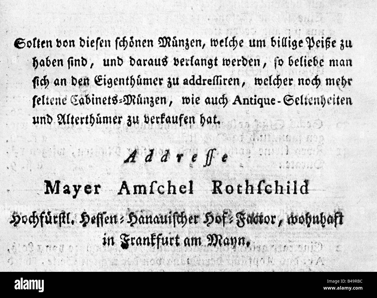 trade, catalogues & flysheets, catalogue of coins by Amschel Mayer Rothschild, Frankfurt am Main 1770 - 1780, - Stock Image