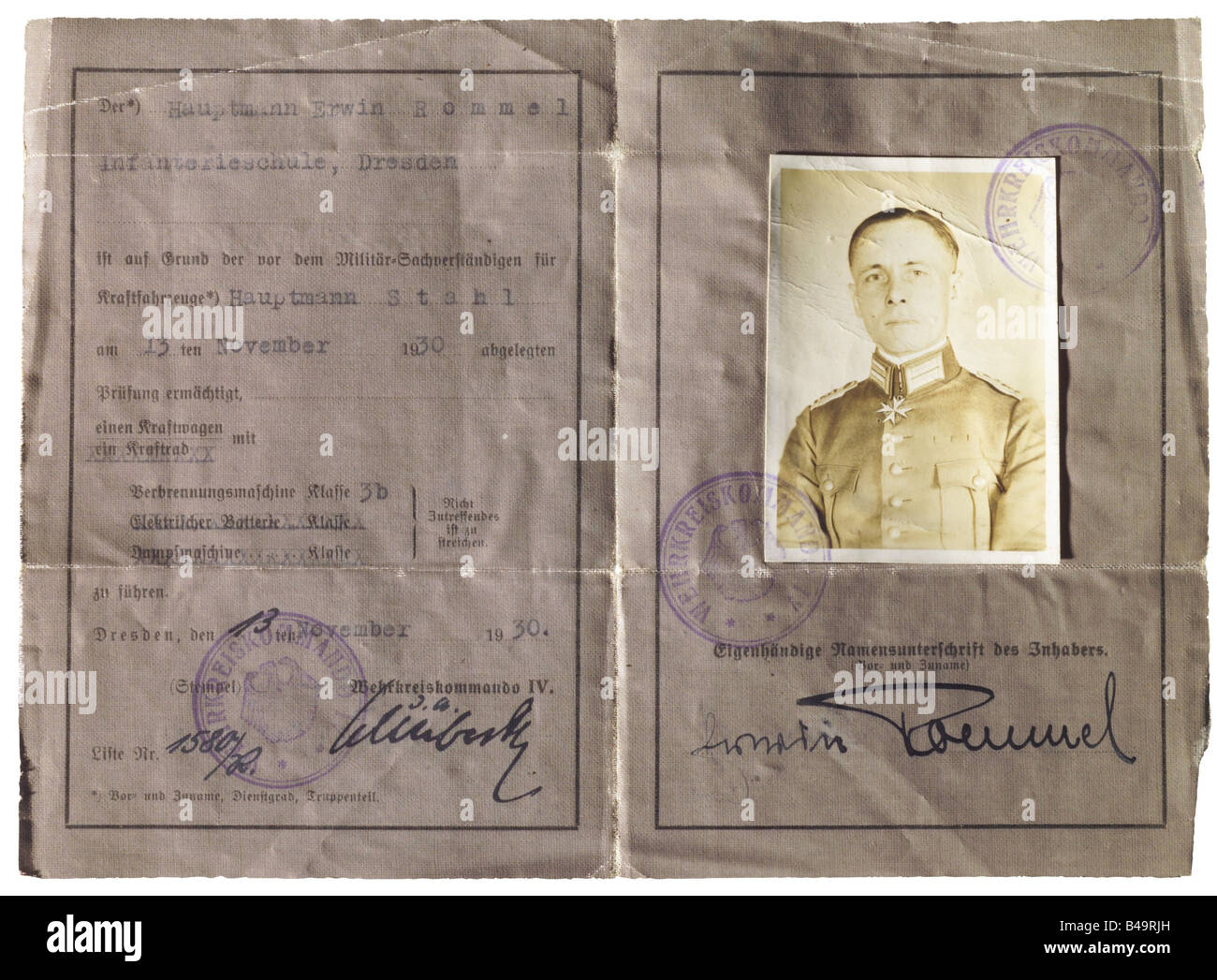 Rommel, Erwin, 15.11.1891 - 14.10.1944, German General, his military driving licence, Dresden 13.11.1930, Additional - Stock Image