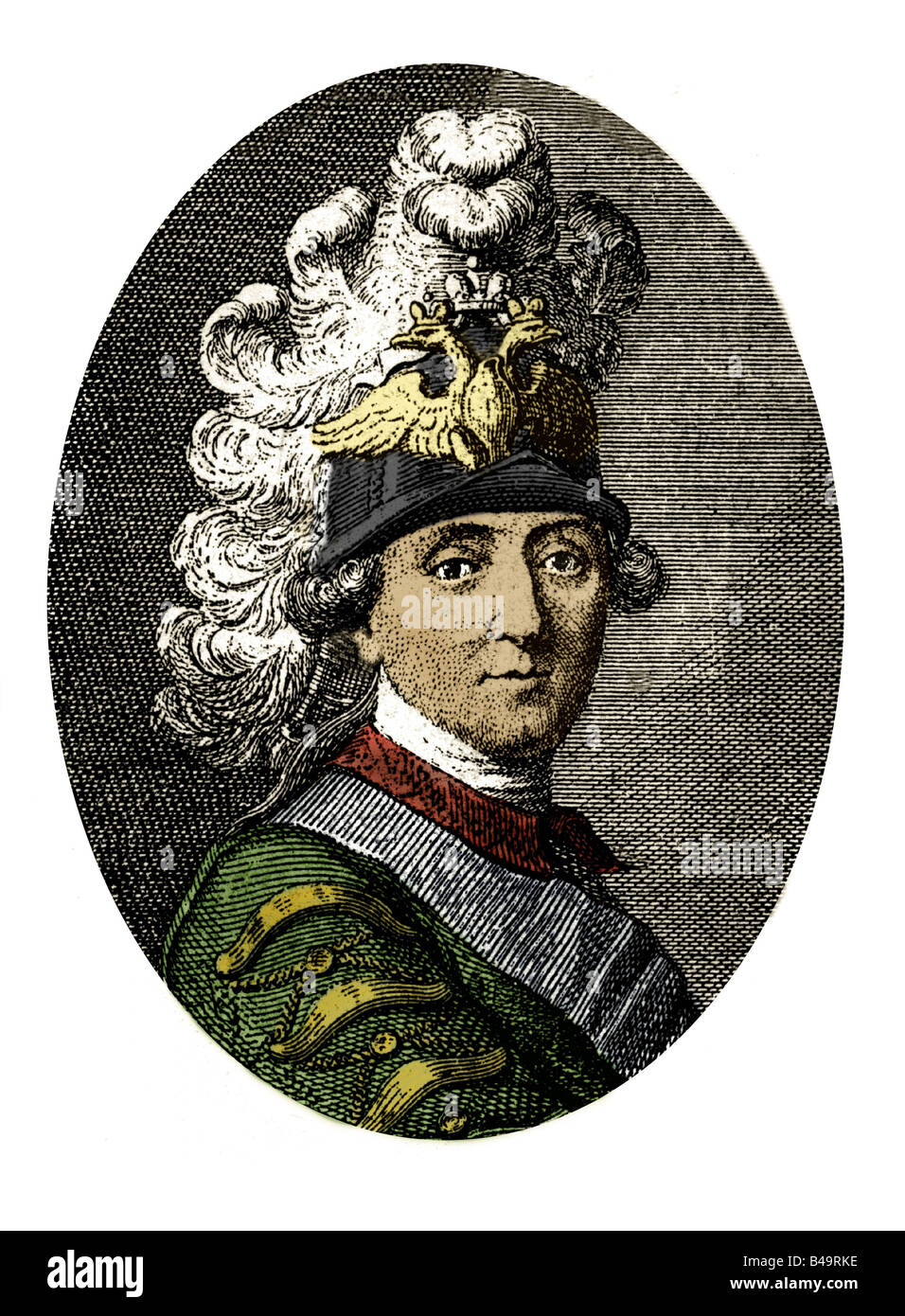 Orlov, Grigory Grigoryevich, 1737 - 5.1.1809, Russian Admiral, portrait, after contemporary engraving, 18th century, - Stock Image