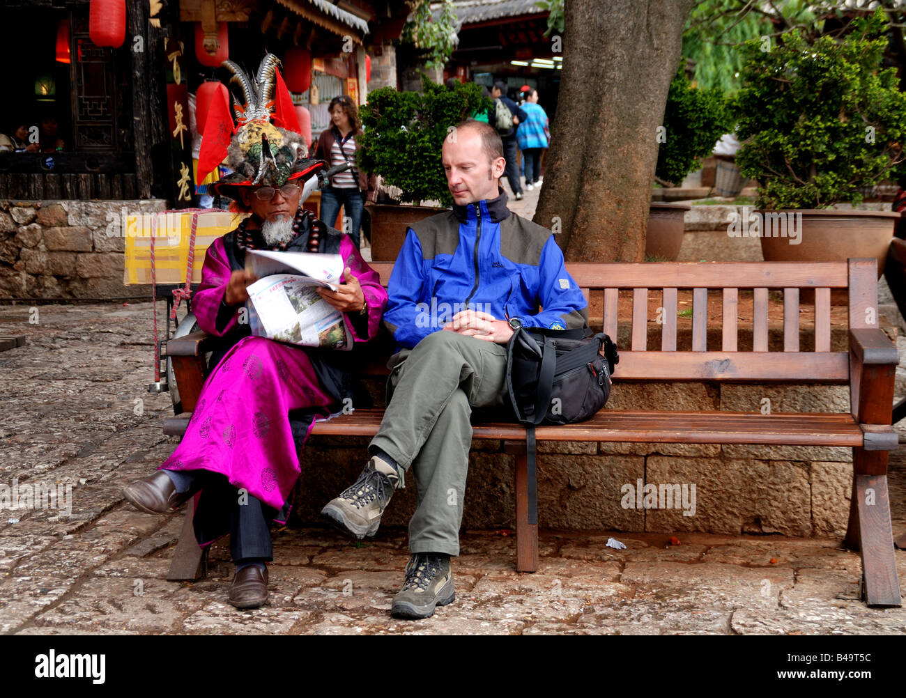 chinese retired,retired,Lijiang,Yunnan,China,Asia. - Stock Image