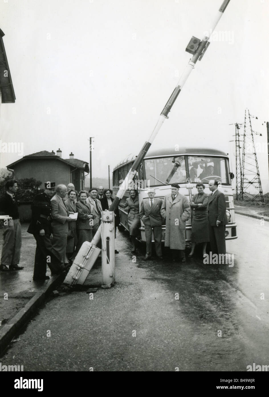 tourism, bus travels, party, French - German border, 1954, Additional-Rights-Clearances-NA - Stock Image