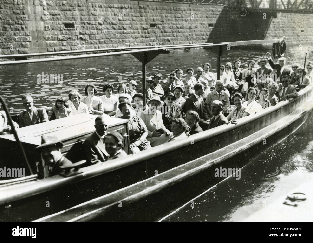 tourism, boat travels, party making harbour tour, Hamburg, May 1957, Additional-Rights-Clearances-NA - Stock Image
