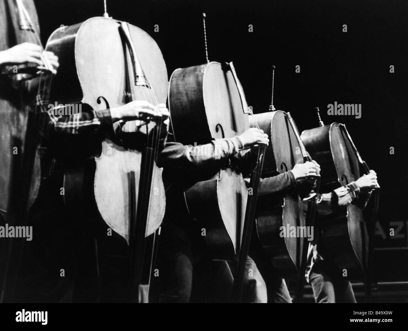 Orchestre de Contrabasses, French band (Jazz), live performance, Stuttgart, April 1998, Additional-Rights-Clearances Stock Photo
