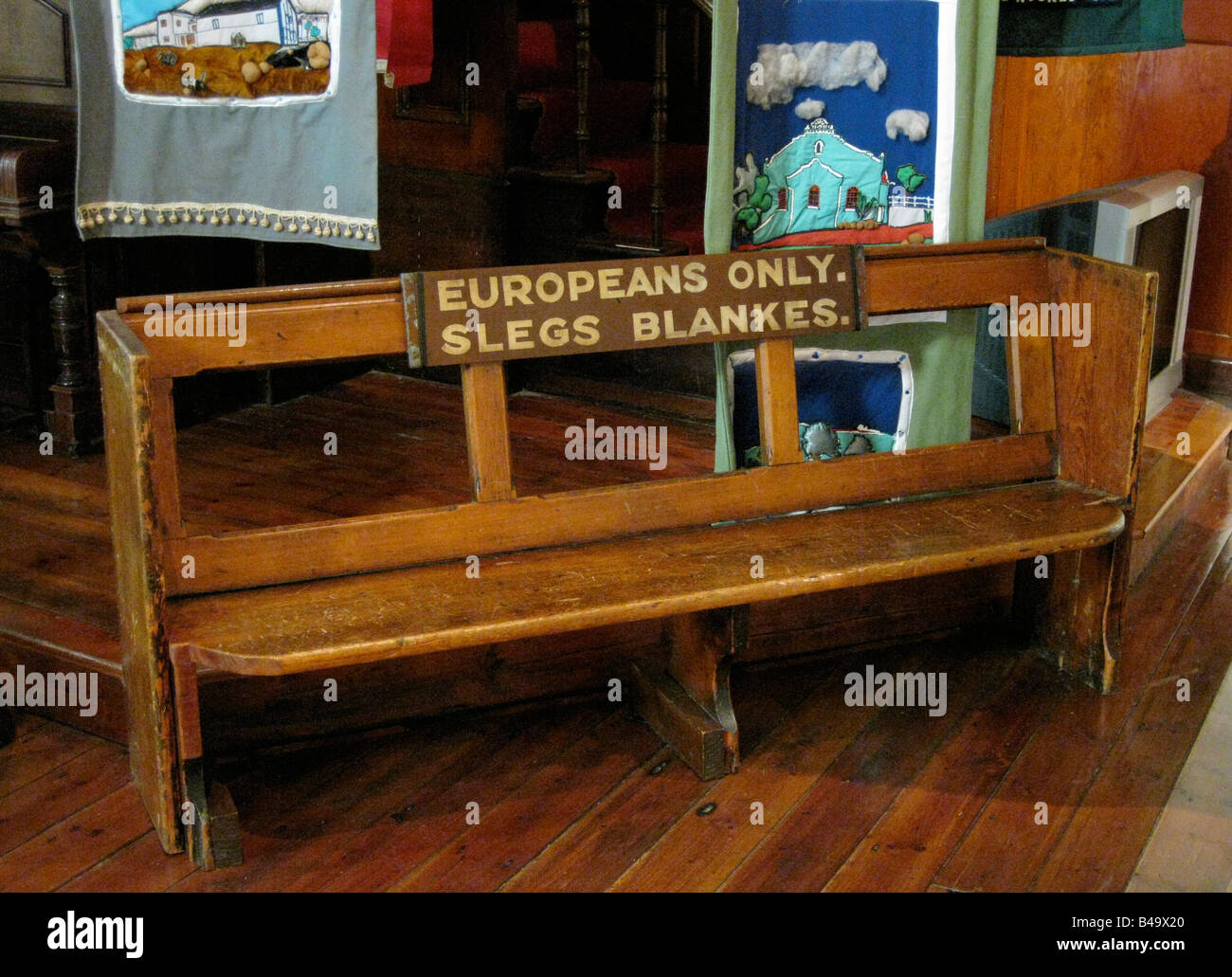 'Whites Only' Apartheid Era Bench, District Six Museum, Cape Town, South Africa - Stock Image