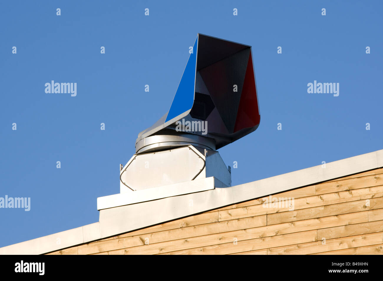 Wind cowl passive heat recovery ventilation Jubilee Harbour Penryn near Falmouth Cornwall UK - Stock Image