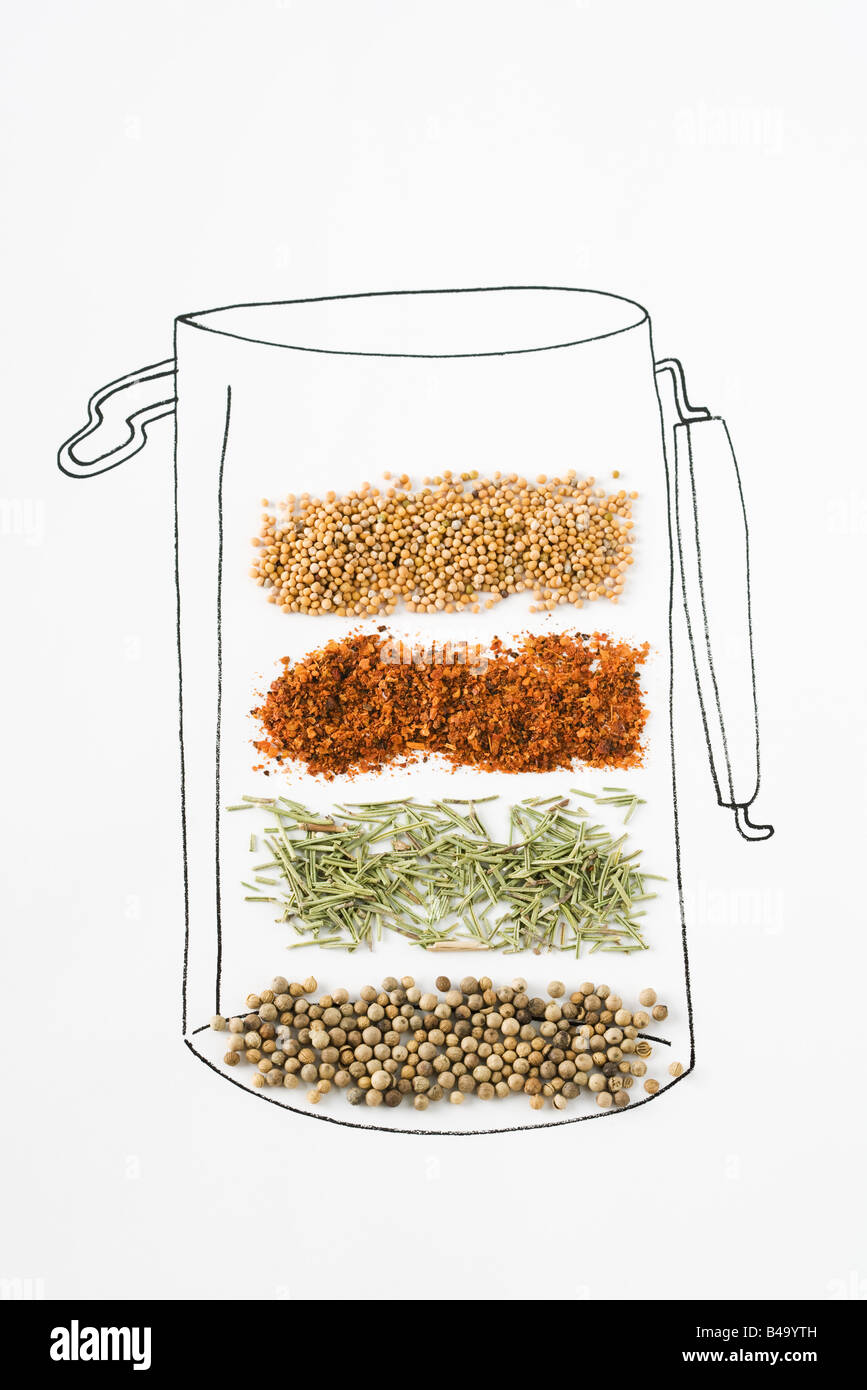 Assorted spices on drawing of canister - Stock Image