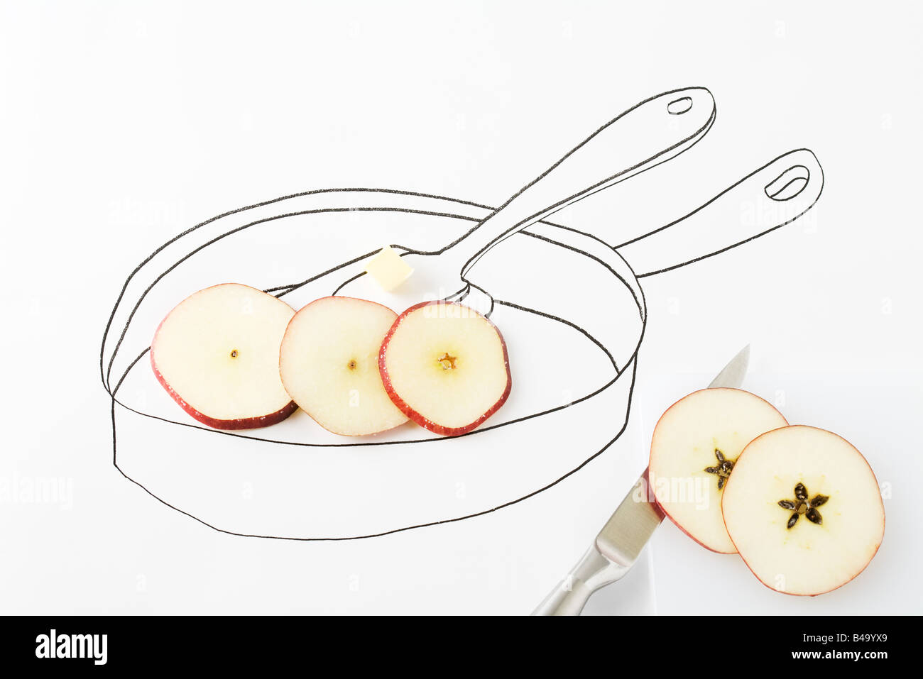 Apple slices and butter in drawing of pan - Stock Image