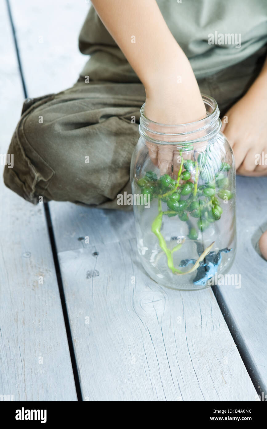 Boy putting berries and toy frog into glass jar, close-up Stock Photo