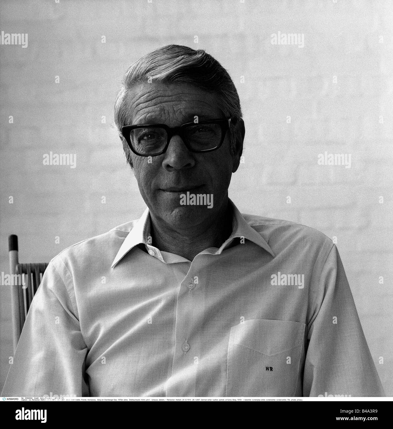 Reinecker, Herbert, 24.12.1914 - 26.1.2007, German writer / author, portrait, at home, Berg, 1970s, Additional-Rights Stock Photo