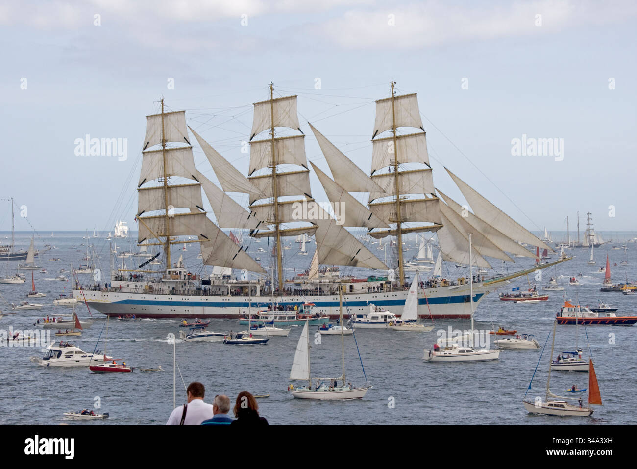 Mir square rigged training ship Funchal 500 Tall Ships Regatta Pendennis Point Falmouth Cornwall UK - Stock Image