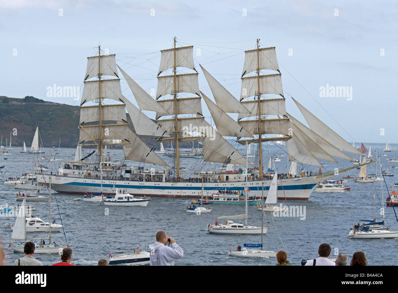 Mir square rigged training ship Funchal 500 Tall Ships Regatta Pendennis Point Falmouth Cornwall UK Stock Photo