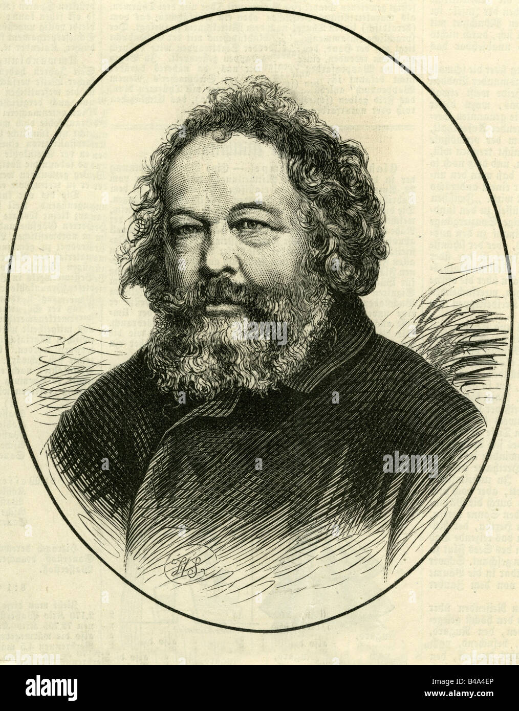 Bakunin, Mikhail Alexandrovich, 18.5.1814 - 1.7.1876, Russian revolutionary, portrait, engraving, 1876, , Additional Stock Photo