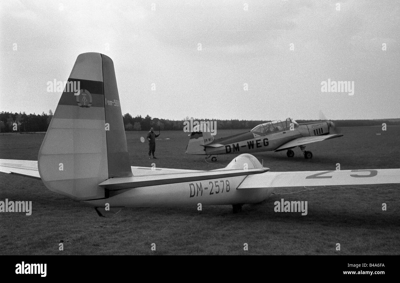 sports, gliding, glider on an airfield, German Democratic Republik, 1964, Additional-Rights-Clearances-NA - Stock Image