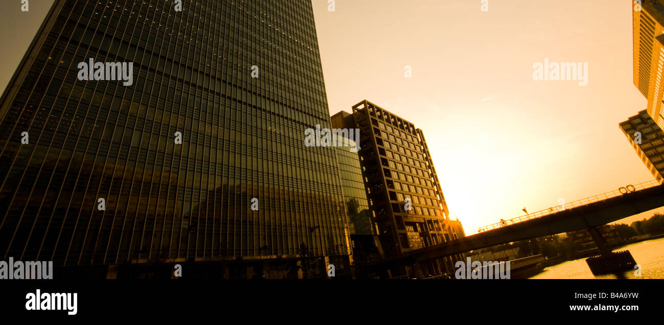 Sunset in Canary Wharf, London. - Stock Image