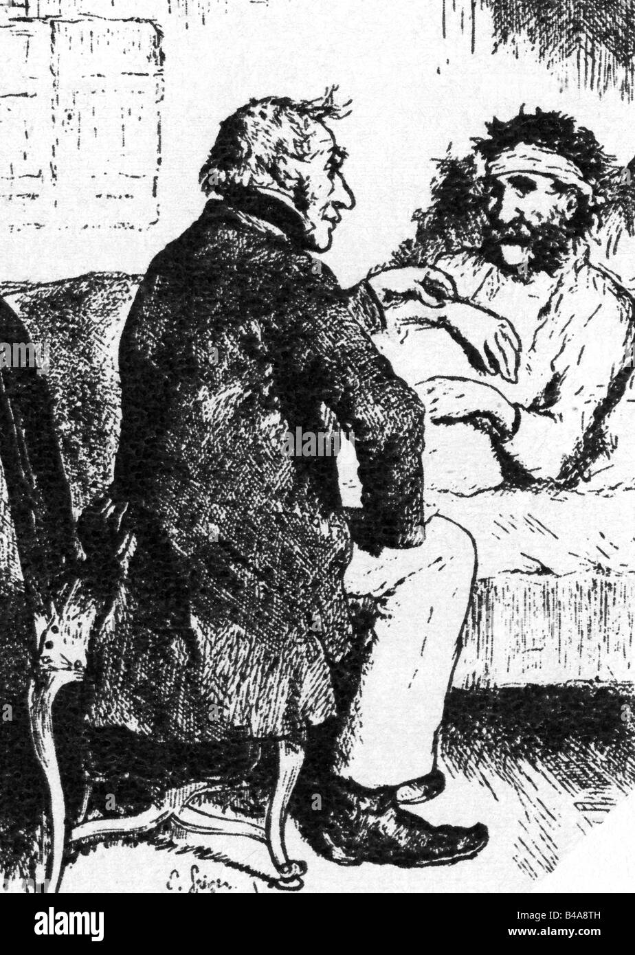 medicine, physicians, caricature, physician an patient, drawing by Emanuel Spitzer, 'Fliegende Blätter', - Stock Image