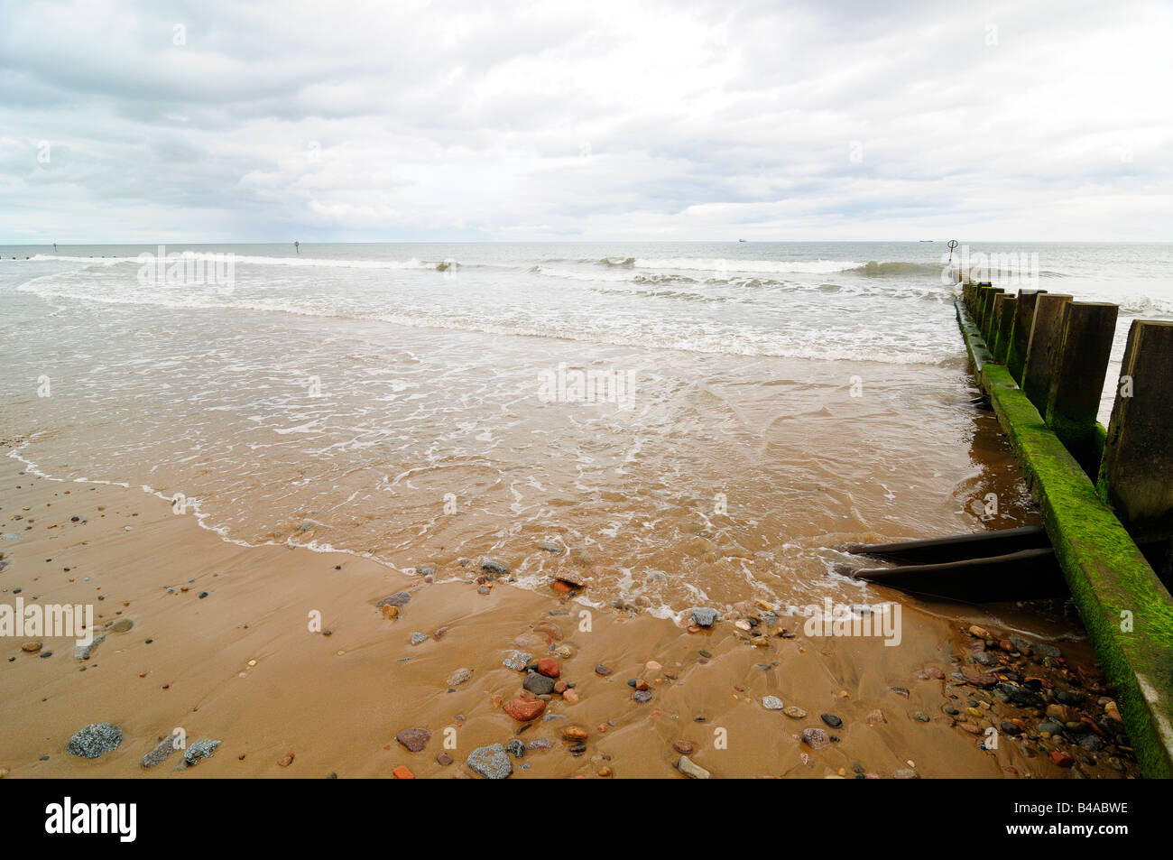 Aberdeen Beach, looking out to the North Sea on a cold September afternoon - Stock Image