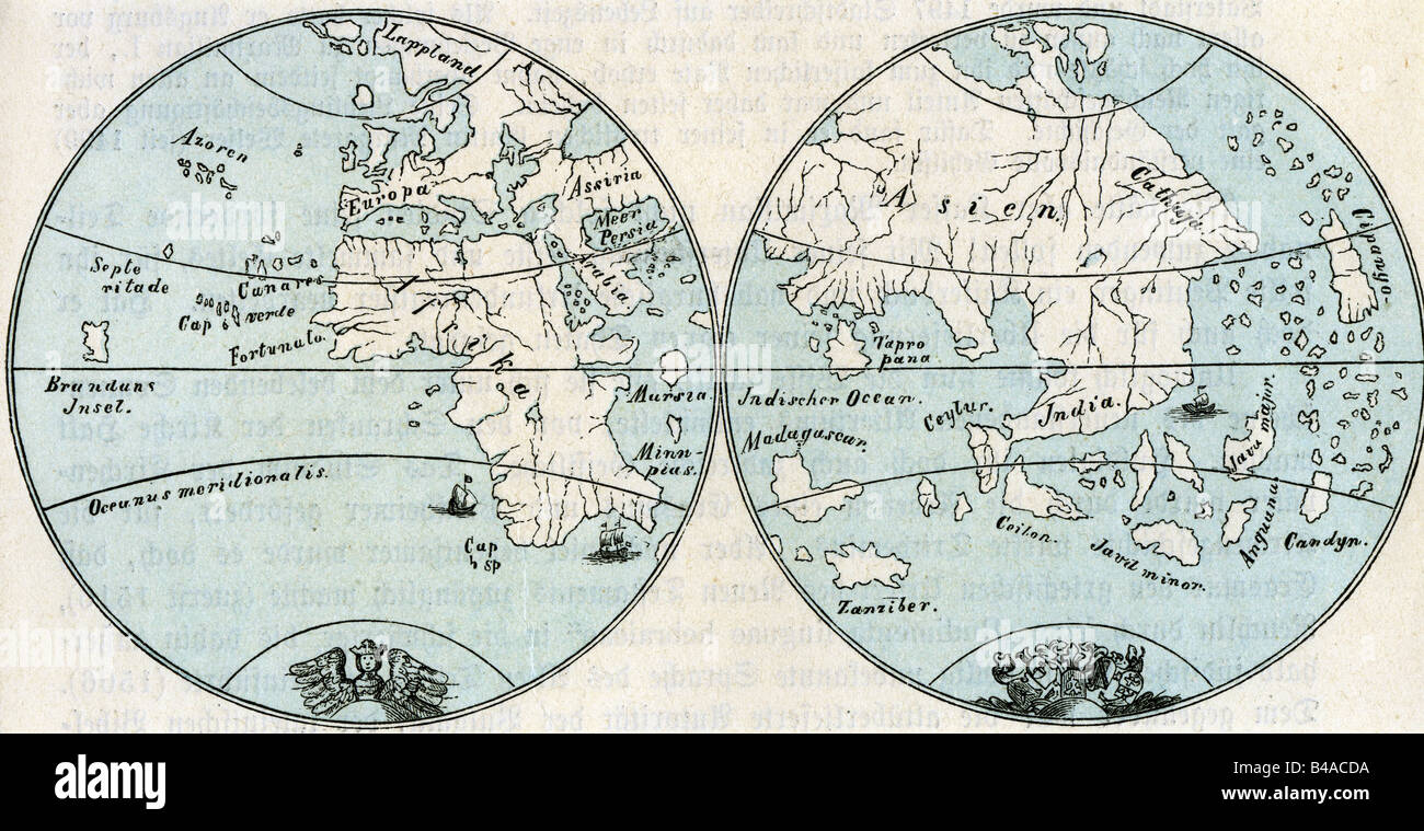 cartoraphy, world maps, map after globe by Martin Behaim, 1492