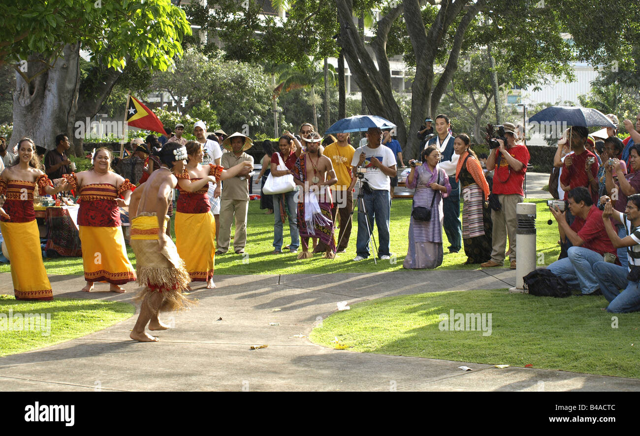 Group performing Samoan dance - Stock Image