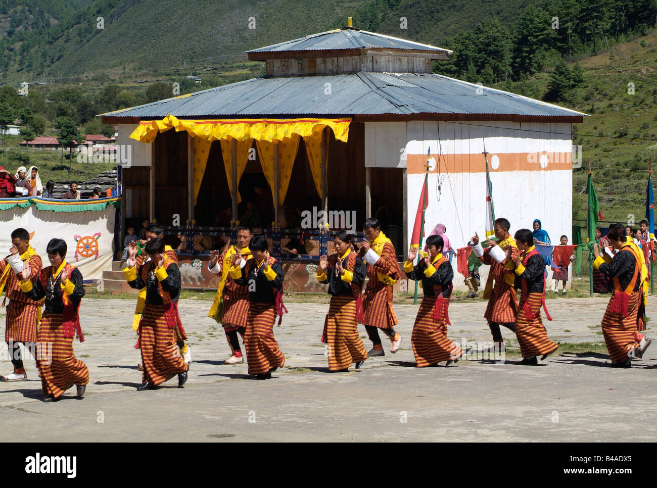 geography / travel, Bhutan, tradition / folklore,  Dance of the Zhungdra, monastery celebration, Haa, Additional - Stock Image