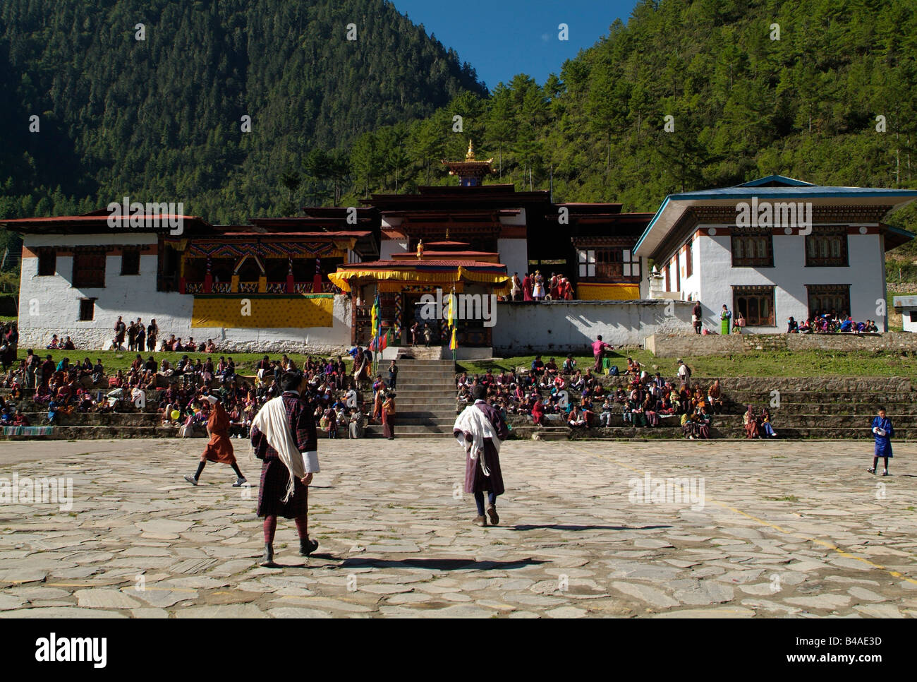 geography / travel, Bhutan, tradition / folklore, Tshechu Monastery, Karpo Lhakhang, Haa, Additional-Rights-Clearance - Stock Image