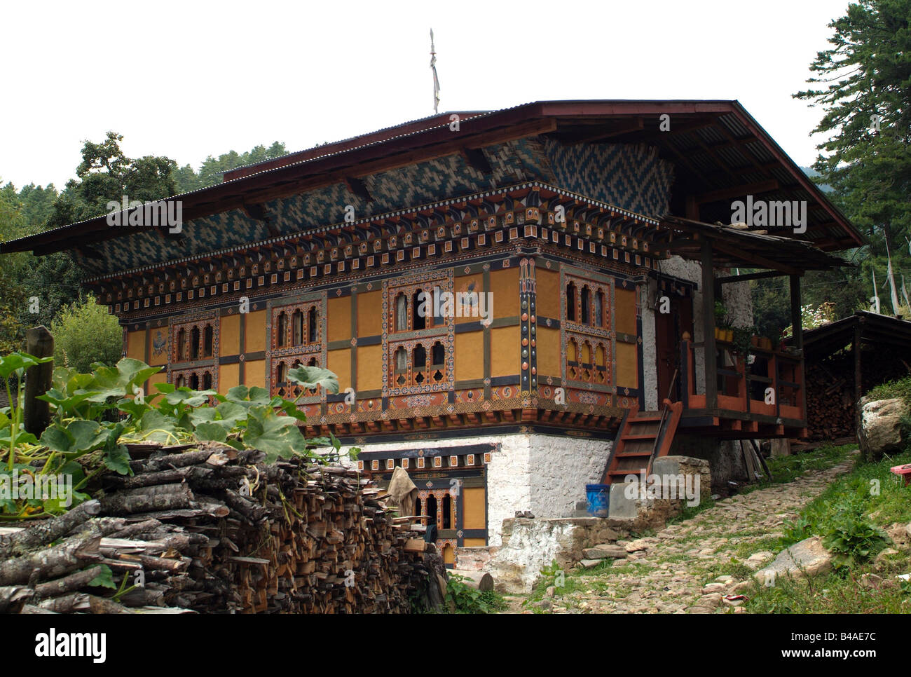 geography / travel, Bhutan, Bumthang Valley, typical house with decoration and stairs, Additional-Rights-Clearance - Stock Image