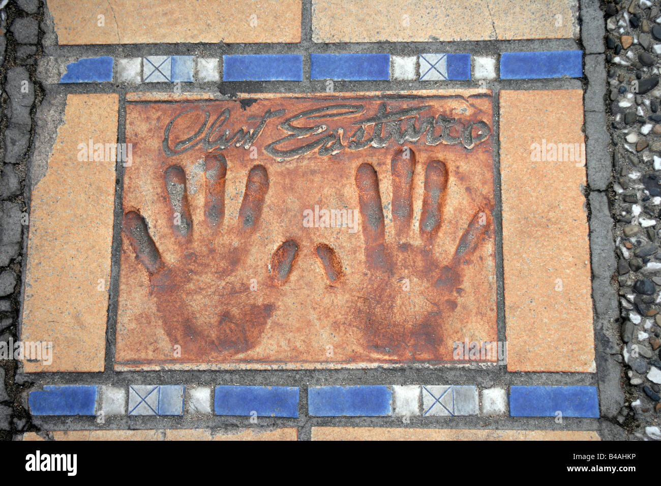 Clint Eastwood s palm prints on La Croisette Cannes France - Stock Image