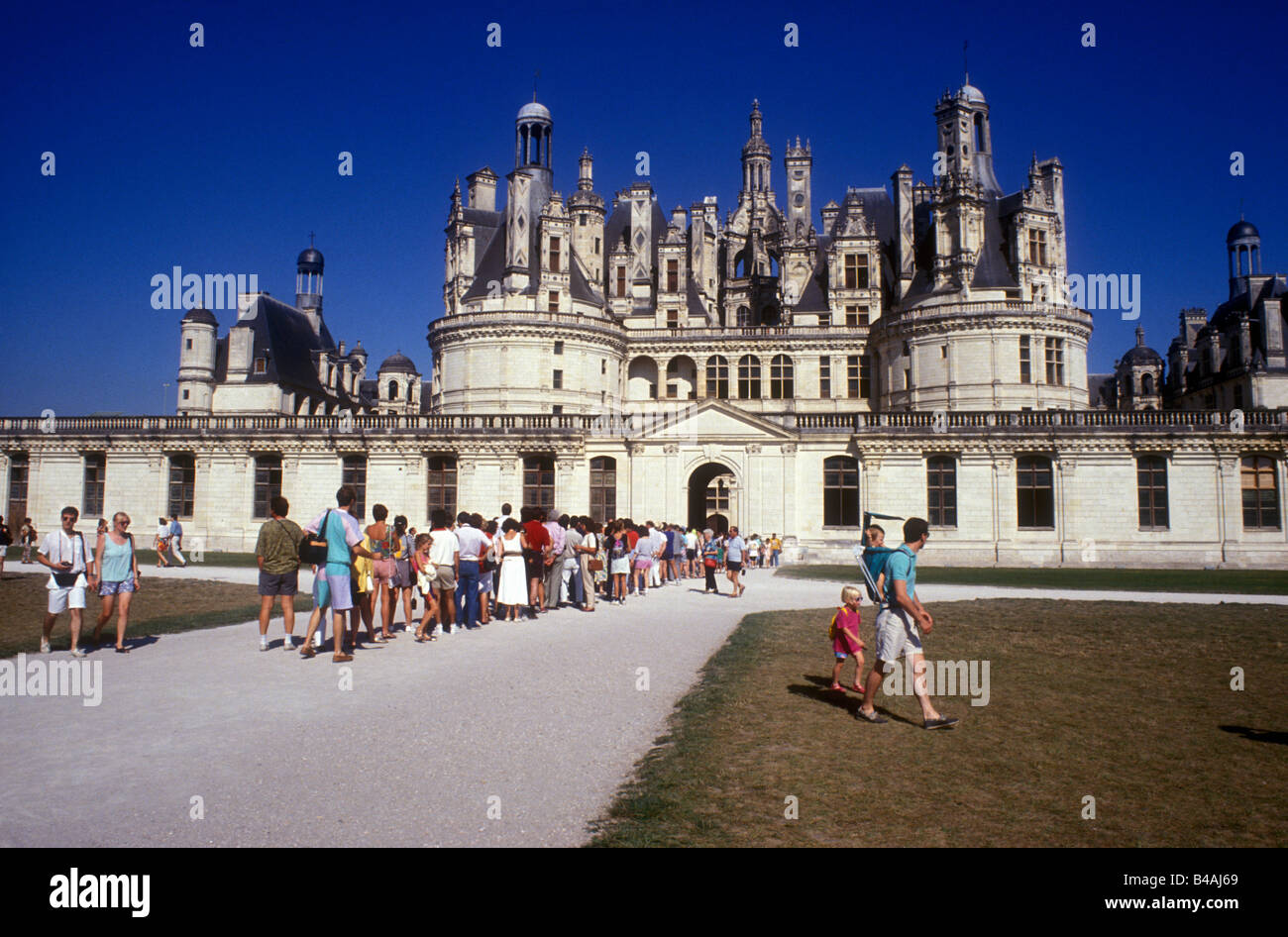 standing in line in chambord castle entrance paris france - Stock Image