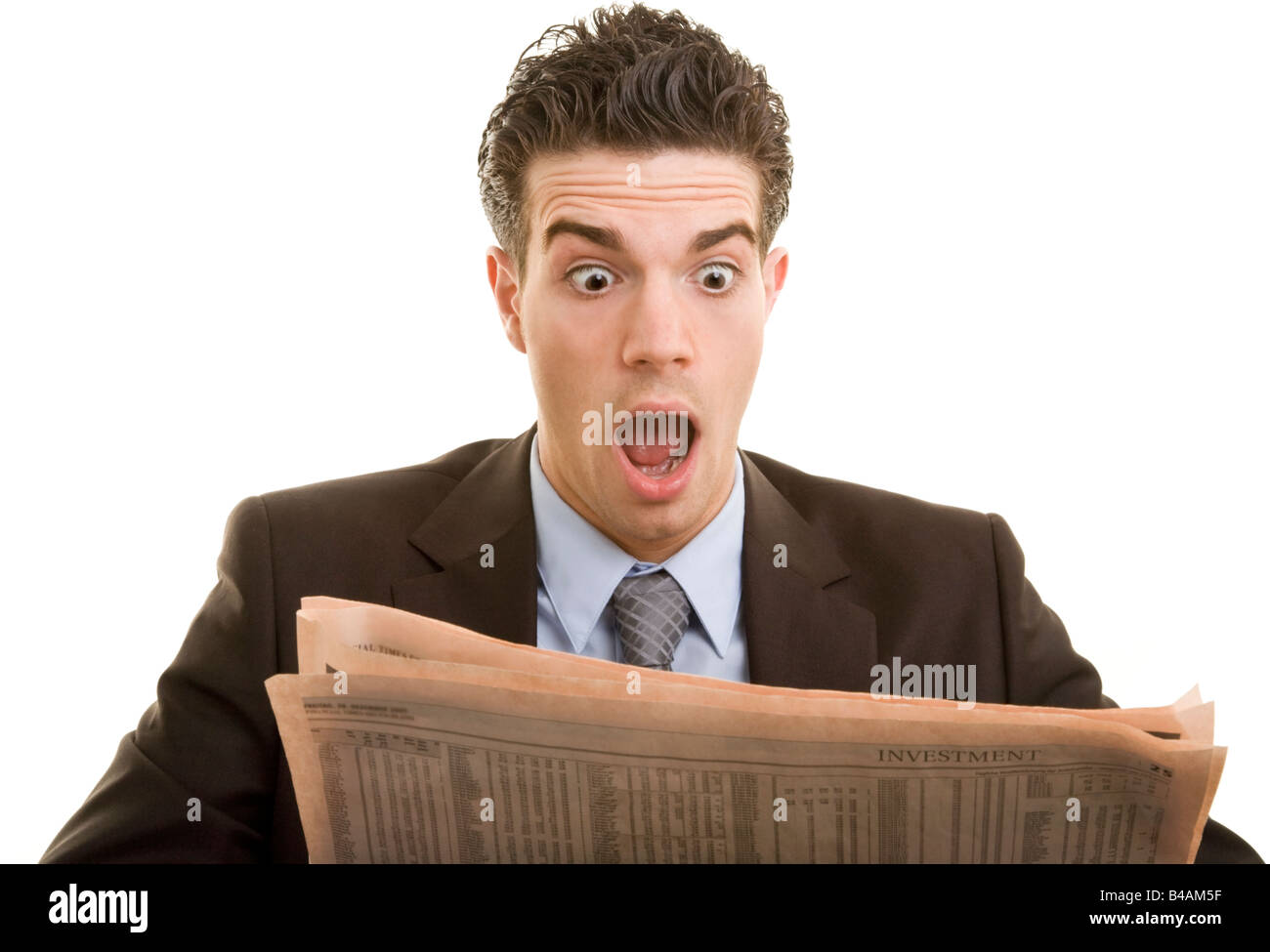young manager reading news Stock Photo