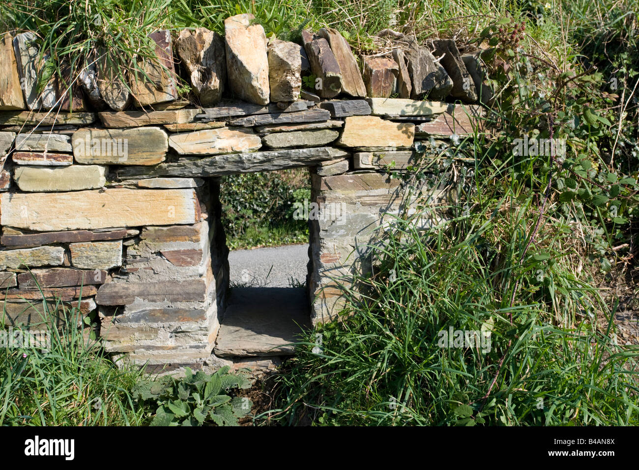 Badger access left in wall Tintagel North Cornwall Coast UK - Stock Image