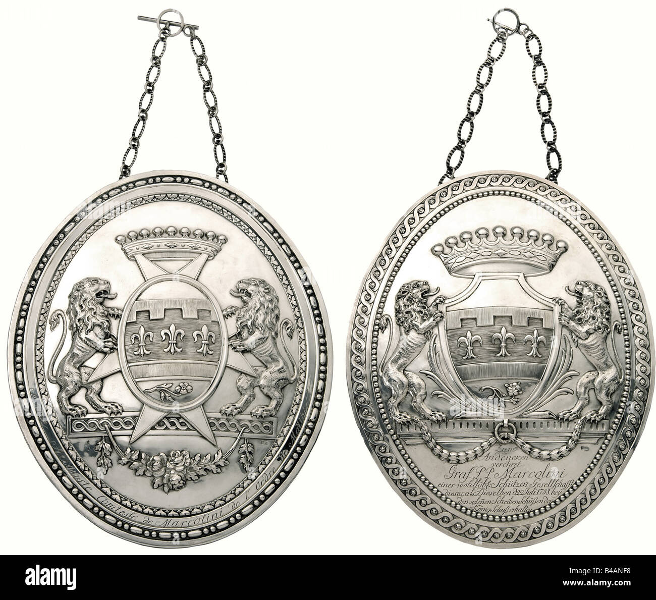 Count Camillo Marcolini and Countess Marie Auguste Marcolini - two silver plaques bearing coats of arms, Friedrich - Stock Image