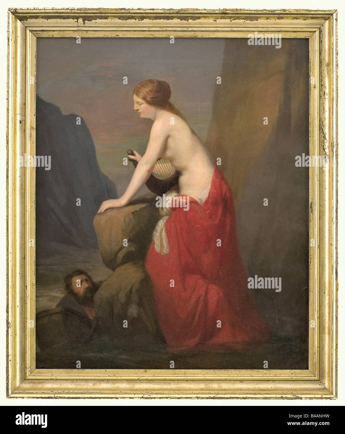 Carl Suhrlandt (1828 - 1919) - Lorelei, signed and dated 1856. Oil on canvas. In the centre of the painting Lorelei - Stock Image