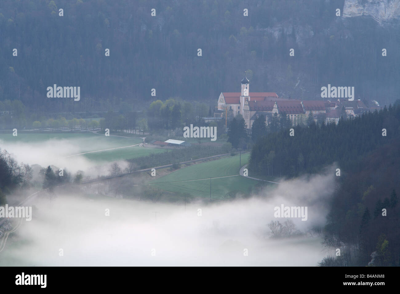 Beuron claustral cloister cloistral convent friary fog haze Danube Valley Germany Stock Photo