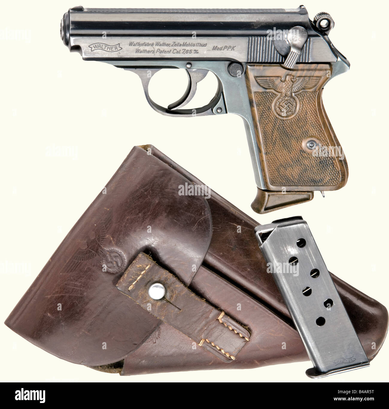 A Walther PPK PL, 'Honourary weapon of the political leader', complete with holster, calibre 7.65 mm, no. - Stock Image