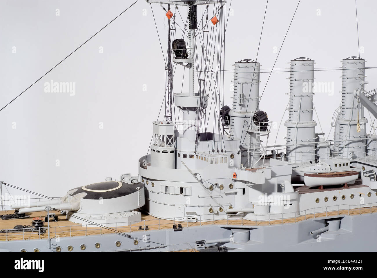 """The ship of the line SMS """"Deutschland"""", a complete remote controlled model, hand made from the original plans. Built Stock Photo"""