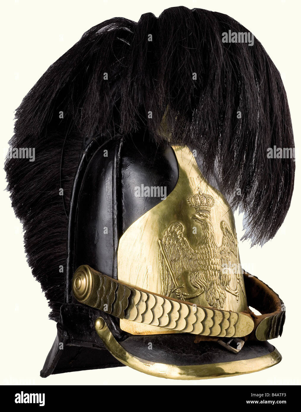 A model 1820 helmet for enlisted personnel, of the Line Cuirassiers. Leather skull with sewn on protective bars - Stock Image